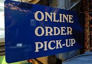 ONLINE ORDER PICK-UP HUGE LARGE 51X24 STORE SIGN BLUE WHITE ADVERTISING VTG