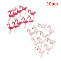 10PCS/Lot Alloy Enamel Flamingo Charms Pedants Crafts DIY Jewelry Findings Gifts