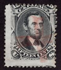 US Sc# 77 USED { 15c A. LINCOLN } RARE FANCY RED CROSS CANCEL 1866 CV$ 265.00