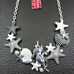Charm Enamel Exquisite Pearl Starfish Shell Pendant Betsey Johnson Necklace