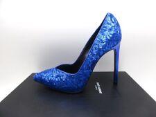 Saint Laurent YSL Paris105 V Cut Sequin Pumps Shoes Royal Blue 35 5