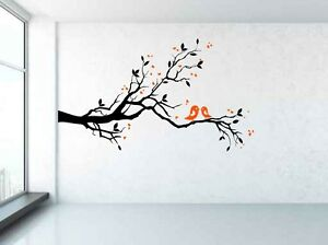 Branch, Birds, Hearts, Tree Wall Decal Sticker Art. Any Colour combination.