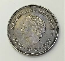 Netherlands Mederland Herrijst 1945 10g 1970 Silver Coin 10 Gulden Queen Juliana