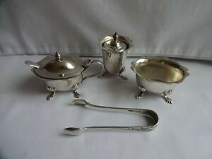 Vintage silver plated EPNS Cruet Set, salt, pepper, mustard by Angora & Tongs