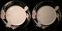 "Mikasa Charisma Black Dinner Plates 10 5/8"" L 9050 Japan Set of 2 Excellent"