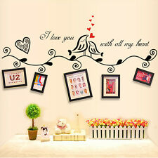 Love Birds Photo Frame Wall Stickers Removable Vinyl Art Home Decals Mural Hot Black