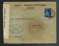 1916 Lisbon Portugal Censored cover to San Francisco USA Franco Portuguese Bank