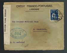 1916 Lisbon Portugal Censored cover to San Francisco USA Franco Portuguese Bank