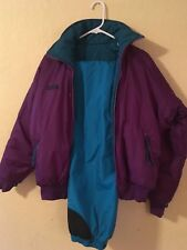 Vintage! Columbia Reversible Ski Bomber Jacket/Pants Teal and Purple Puff NICE