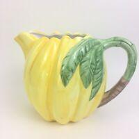 Albert Kessler Co Banana Pitcher Yellow Green Handle Leaves Juice Jug '80s Vtg