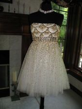 Sherri Hill 2794 Ivory Gold Stunning Cocktail Party Dress sz 8 NWT