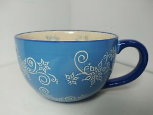 NWOB Temptations 18 oz Floral Lace Soup Coffee Tea Mug Winter Blue