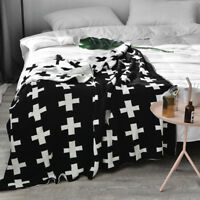 Cross Plus Pattern Kids Adults Knitted Throw Blanket Wrap Rug Photography Props