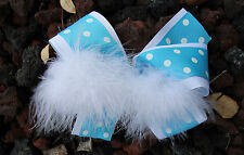 Personalized Embroidered Turquoise White Polka Dots Feather Boa Hair Bow