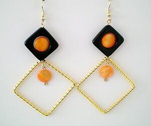 Earrings  Mother-of-Pearl/Black Onyx/Wire Wrap Drop Gold Plated Handmade GB New