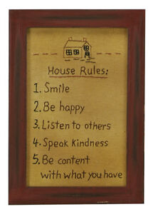 Stitcheries by Kathy Sign - House Rules - Hanging/Standing Frame - 27x19cm