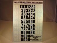 DECALS 1/18 NUMEROS NOIRS ET BLANCS PART 1 - COLORADO  18010