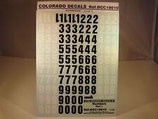 DECALS 1/18 NUMEROS NOIRS ET BLANCS PART 1 - COLORADO  18010