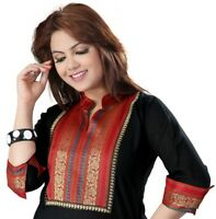 UK STOCK - Women Fashion Black Casual Indian Short Kurti Tunic Dress EX01B