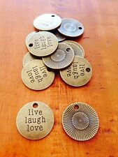 Antique Bronze LIVE LAUGH LOVE charms / pendant x 10