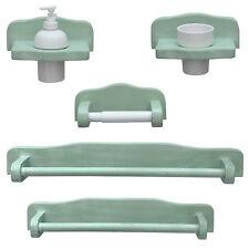 Kit di accessori x bagno completo in legno finitura decapè verde arredo classico