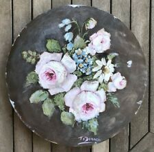 Original Still Life Pink Rose Painting on Round Timber Board