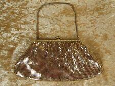 Vintage 50s 60s Gold Mesh Handbag Purse Rhinestones Deco Hollywood Retro Style