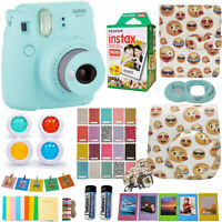 Fujifilm Instax Mini 9 Instant Camera + fuji 20 Film, Emoji Case, Deluxe Bundle