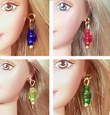 """Dreamz BLUE RED YELLOW GREEN 4 Pair EARRINGS LOT for Barbie & 11"""" Doll Jewelry"""