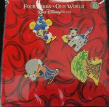 Disney's Four Parks, One World 4 Pin Booster Collection -New on Card + Sealed