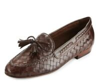 Sesto Meucci Nicole Woven Leather Loafer Brown 7 7.5 M Made In Italy 250.00