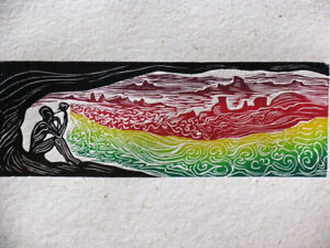 Flower Wizard Surreal Color Puzzle Woodcut on Hand Made Paper Landscape Flute