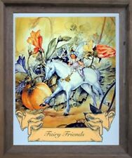 Fairy and Unicorn Horse Friends Wall Decor Barnwood Framed Picture (19x23)