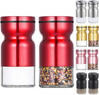 Red Salt And Pepper Shakers Set Stainless Steel Metal Kitchen Modern Shaker