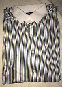 Vintage Polo Ralph Lauren French Cuff Button Down Shirt With Silk Knots 17.5x34