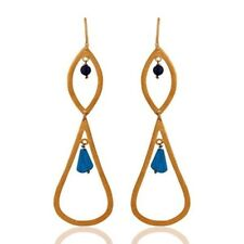 22k Gold Plated 925 Sterling Silver Black Onyx Turquoise Dangle Earrings Jewelry