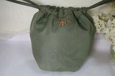 PRADA Sage GREEN Nylon Leather Drawtop Pouch Hand Bag Handbag