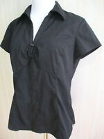 STYLE& CO Womens Stretch Black Blouse M 10 V-neck Shirt Top Short Sleeve Collar