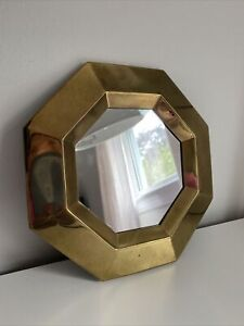 """Vintage 7"""" Octagon Wall Mirror Small Brass Taiwan Accent Gold Tone Metal Light"""