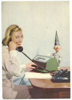 FACIT ADDING MACHINE - GREAT ca1950 AD Postcard w/ Lady & DUNCE STATUE!