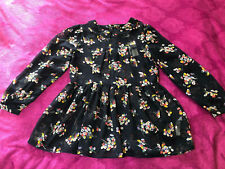 BNWT NEW LOOK NAVY FLORAL CHIFFON PETER PAN NECKLACE PEPLUM BLOUSE SIZE 14 ♡♡♡