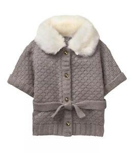NWT Janie And Jack Gray Cardigan Sweater Ivory Faux Fur Size 12