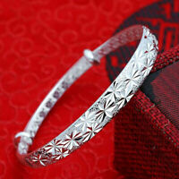 Women Silver Color Bracelets Adjustable Textured Lady's Bangle Bracelet HO3