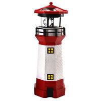 LED Solar Leuchtturm 28 cm | Garten Leuchtfeuer Rot Weiß | Deko Beleuchtung