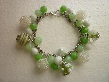 *Stainless Steel Bracelet Glass Lampwork Beads Flowers Stripes