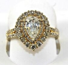 Pear Shape Diamond Solitaire Lady's Ring 14k Yellow Gold 1.73Ct