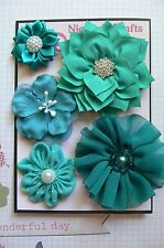HANDMADE 5 Flower Mix with Centres TEAL Organza Satin 35-75mm NjoyfullCrafts