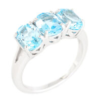 100% NATURAL+ 8X6MM SKY BLUE TOPAZ 3-STONE AFRICAN GEM SILVER 925 RING SIZE 8