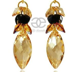 EARRINGS ORIGINAL CRYSTALS *GOLDEN NAWI* 24K GOLD PLATED STERLING SILVER