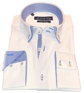 Mens Smart Shirt Casual Formal Soft Cotton Double Collared Blue Check Smart Fit